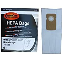 6 bags (1 pkg) Type B HEPA Allergy Bags For Riccar 8000 8900, Simplicty 7 & 7000 Series and Belvedere Upright Vacuum Cleaners by EnviroCare