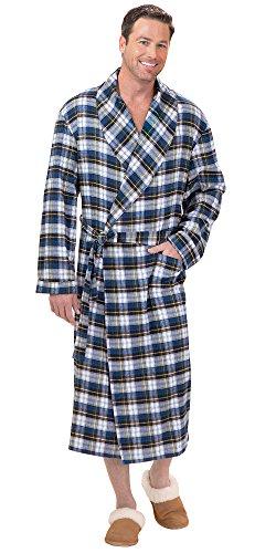 PajamaGram Men's Tartan Plaid Brushed Cotton Flannel Robe