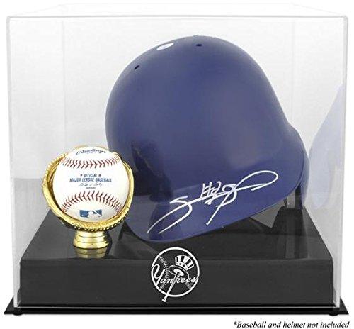 Baseball Batting Helmet Display Case (New York Yankees Batting Helmet with Ball Holder Logo Display Case)
