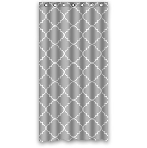 "36""(w) x 72""(L) Custom Light Grey Quatrefoil Pattern Bathroom Waterproof Polyester Fabric Shower Curtain"