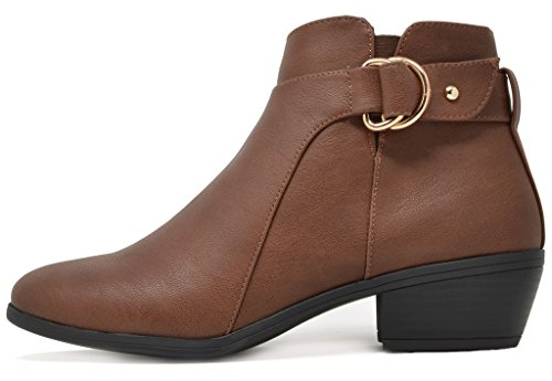 Booties Cowboy Women's Side Pu brown Ankle TOETOS Zipper 03 Block Heel q0Hx5dH1w