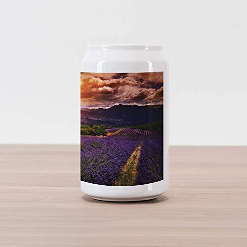Lunarable Clouds Cola Can Shape Piggy Bank, Lavender Field at Sunset with Contrasting Colors Rural Epic Harvest Scenery, Ceramic Cola Shaped Coin Box Money Bank for Cash Saving, Orange Violet Mauve