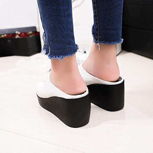 Sandales D'été À Chaussures Tongs forme La Wedges Imperméables Talons Couleur De Femme Plate Pantoufles Darringls Unie Été Blanc qEHY5q