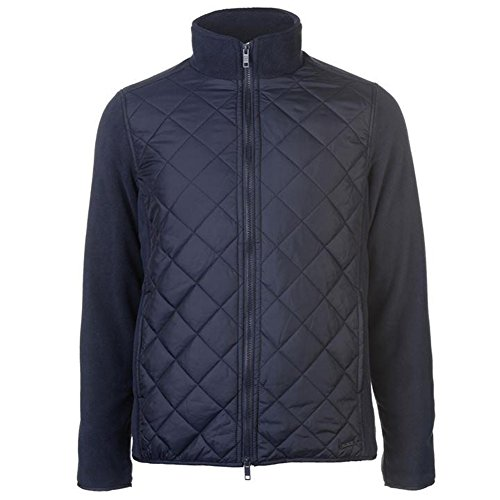Pierre Cardin Mens Lightweight Quilted Fleece Full Zip Jacket (XX-Large, Navy)