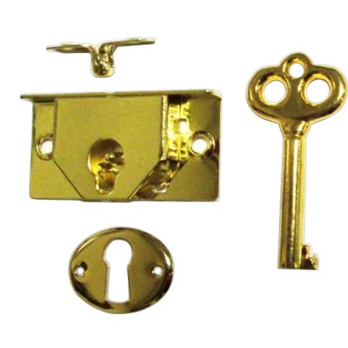 Noa Store M-1880 Brass Plated Steel Half Mortise Chest Lock 1 3/4
