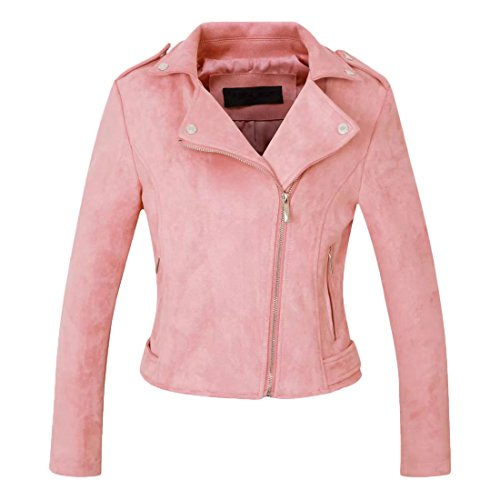 Suede Leather Coat - Chartou Women's Stylish Notched Collar Oblique Zip Suede Leather Moto Jacket (Small, Pink)