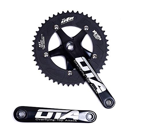 OTA Single Speed Bicycle Crankset Chainwheel 170mm Crank Arms 130 BCD Chainwheel 48T Fixie Crankset for Single Speed Bike, Fixed Gear Bicycle, Track Road Bike (Black)