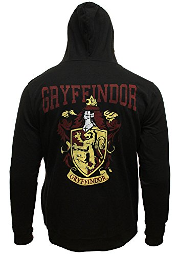 Harry Potter Men's Distressed Gryffindor House Crest Full Zip Hoodie Sweatshirt (Large) (Alumni Clothing)