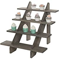 MyGift 4-Tier Rustic Vintage Gray Wood Retail Display Riser Stand