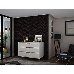 Bedroom Manhattan Comfort Rockefeller Mid-Century Modern 3 Drawer Bedroom Dresser, 35.24″, Off White and Nature modern dressers
