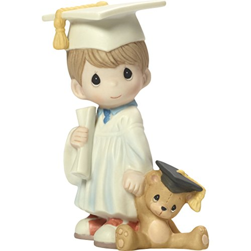 Precious Moments I Did It Graduation Boy with Diploma & Teddy Bear Bisque Porcelain Home Decor Collectible Figurine 173015