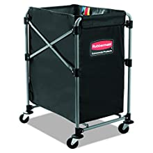 Rubbermaid Commercial Collapsible X-Cart, Steel, 4 Bushel Cart, 24 in L x 20 in W x 24 in H, Black (1881749)