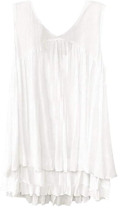 Gasa T Shirt para Mujer Verano Suelto Camisa Tops Plisado