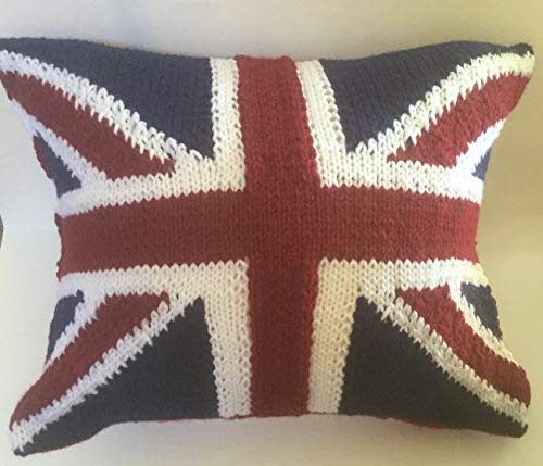 Union Jack British Flag Cushion Cover Hand Knitted ()