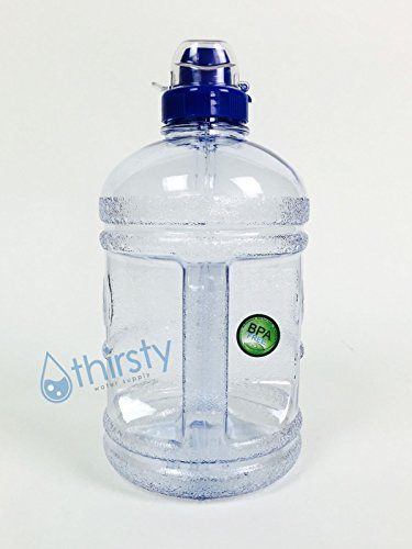 BPA Free Water Bottle Half Gallon Drink Gym Canteen Jug Container Colors 64 oz-Clear Blue