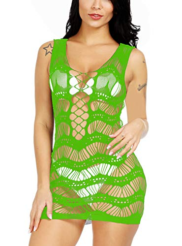 Vorifun High-Elastic Women Fishnet Lingerie Mesh Chemise Babydoll Mini Dress Bodysuit One Size (Green)