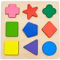 GYBBER&MUMU Wooden Preschool Colorful Shape Puzzle -...