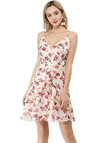 Allegra K Women's Spaghetti Strap V Neck Belted Floral Ruffle Dress L Apricot