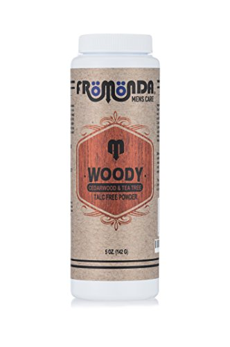 Fromonda Woody Talc-Free Body Powder, 100% Natural Ingredients, Cedarwood & Tea Tree Scent, 5 oz Talc Body Powder