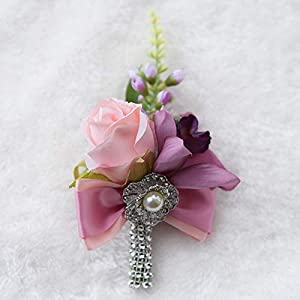 Abbie Home Dusty Pink Peony Rose Wrist Corsage Boutonniere Real Touch Flowers for Prom Party Wedding with Pearl Jewel Décor (Boutonnière) 109