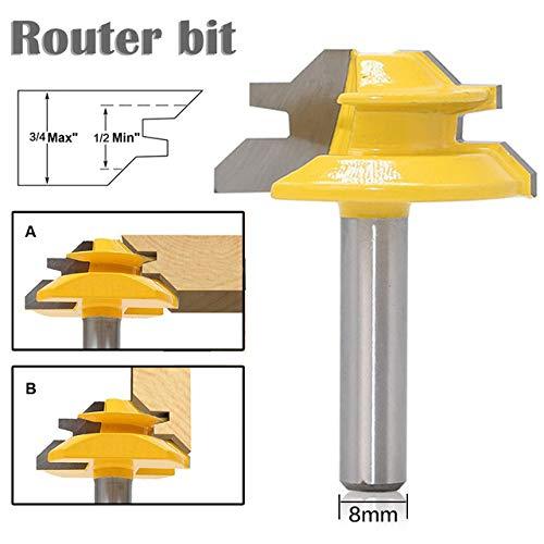 45 Deg Lock Miter Router Bit 8mm *1-1//2/'/' 8mm Shank