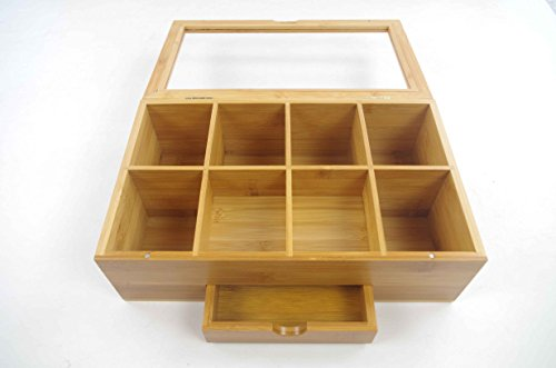 Tea Organizer Bamboo Tea Box with Small Drawer 100% Natural Bamboo Tea Chest - Great Gift Idea - By Bambusi by Bambüsi (Image #4)