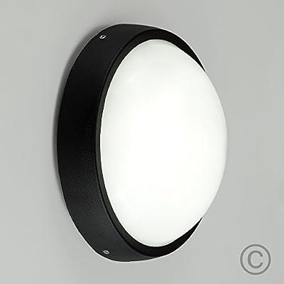 Lámpara LED de pared exterior de aluminio negro contemporánea, mampara de luz de jardín: Amazon.es: Iluminación