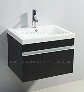 "vs ALEXIUS - BLACK Vanity Sink - 24"" Inch Floating Wall"