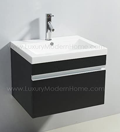 Vs ALEXIUS   BLACK Vanity Sink   24u0026quot; Inch Floating Wall Hung Mount  Bathroom Modern