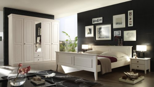 Dreams4Home-Komplett-Schlafzimmer-Braga-Bett-Kleiderschrank-2-Nachtkonsolen-Set-Massivholz-Kiefer-wei-lasiert