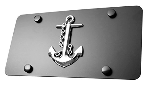 """LFPartS Navy Ship Anchor 3d Emblem on Stainless Steel License Plate (plate 12""""x6"""", Chrome Emblem on Black)"""