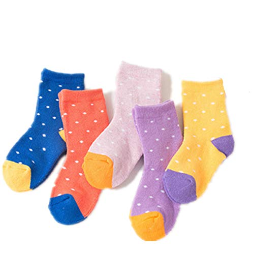 AILNT Kids Boy Girl Organic Cotton Comfort Crew Sock, (5 Packs), Different Color Chioce (Large(8-12Years))
