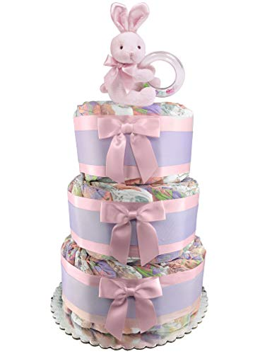 Eco-Friendly Bunny 3-Tier Diaper Cake - 50 Honest Size 1 Diapers - Girl Baby Shower Gift - Pink and Purple ()