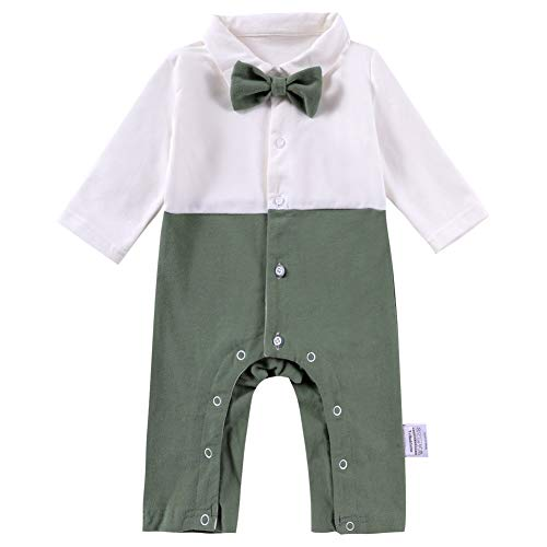 Baby One Piece Shirt Infant Organic Cotton Polo Shirt Union Suit Boys Long Sleeve Romper Clothes Toddler Jumpsuit Newborn Birthday Outfit with Bow Tie for Spring and Fall,0-3 Months,Olive Green