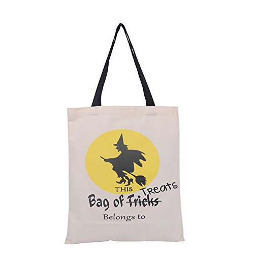 Aspire Bulksale Halloween Reusable Tote Bags Durable Canvas Trick Or Treat Shopping Bag Gift Storage-Witch-1 Pc