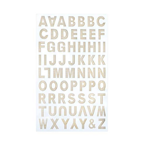 Darice 30052939 Embossed Dot Font Letter Stickers: Gold, 0.88in, 65 Pack
