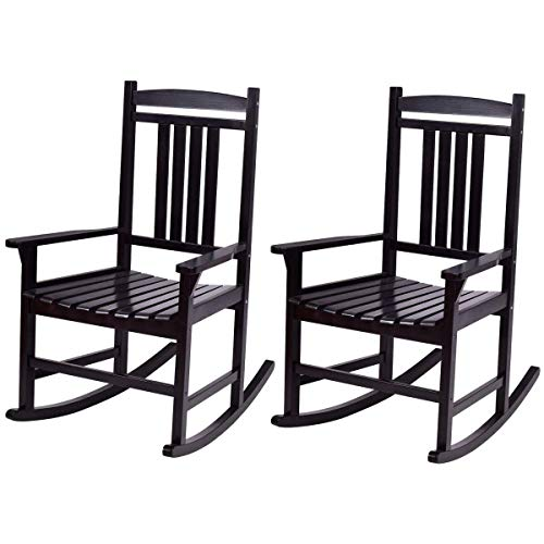Casart Set of 2 Wood Rocking Chair Outdoor Indoor Patio Porch Rocker for Porch, Patio, Living Room, Black