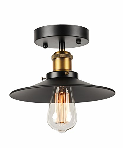 LightLady Studio - Industrial Ceiling Light - Black Shade Semi Flush Mount Light Fixture - Farmhouse Lighting - Edison Light Fixture - Vintage Barn Light for Hall, Kitchen or Low Ceiling Rooms (Small)