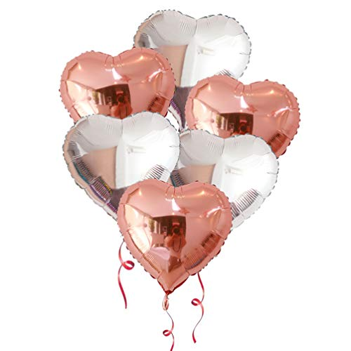 AZOWA 30 Pcs Heart Balloons 18 inch Rose Gold Heart Shaped Foil Mylar Balloons for Valentine's Bridal Shower Wedding Birthday Party -