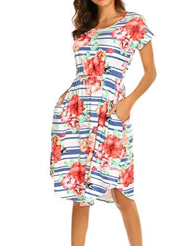 Women's A Line Striped Flare Holiday Dress Denim,XL