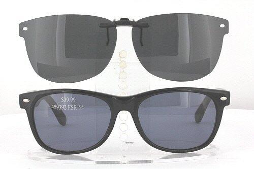KIRKLAND-SIGNATURE ABRUZZO-459392-55X18 POLARIZED CLIP-ON SUNGLASSES (Frame NOT - Kirkland Polarized Sunglasses