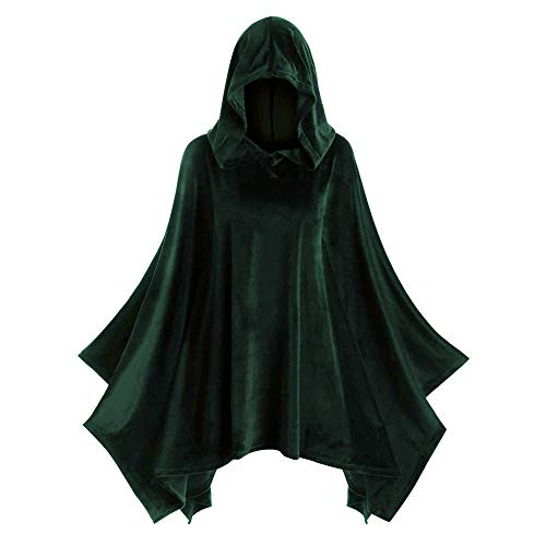Aniywn Women's Halloween Vintage Cape Women Solid Color Hooded Cloak Coat Cosplay Costumes ()