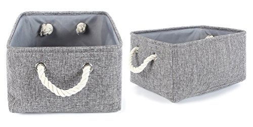 TheWarmHome 2 Pack Grey Fabric Storage Bins for Nursery Storage Canvas Storage Basket,15.7×11.8×8.3 inch by TheWarmHome