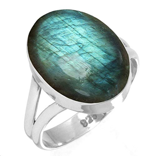 Natural Labradorite Ring 925 Sterling Silver Handmade Jewelry Size 5