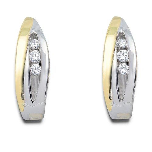 Miore - MH9032SZE - Boucles d'Oreilles créoles Femme - Or jaune 375/1000 (9 carats) 3.88 gr - Zirconium