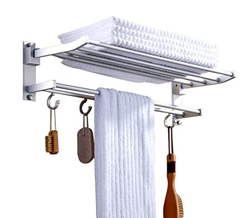 HOVEXUN Bathroom Bath Towel Rack,15.7-Inch Double Wall Mount Shelf Storage Bar Holder with 5 Hooks Foldable XmaSmile