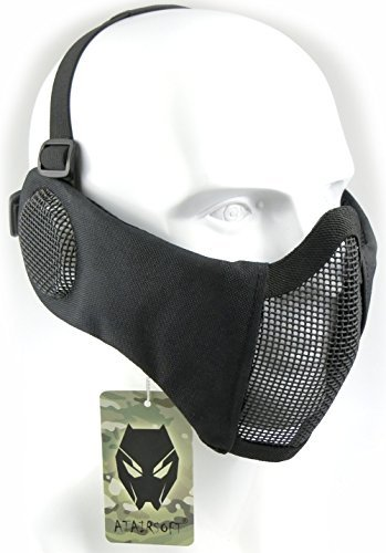 ATAIRSOFT Tactical Airsoft CS Protective Lower Guard Mesh Nylon Half Face Mask with Ear Cover Black
