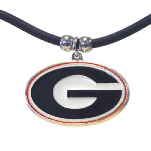 Necklace Rubber Round (Georgia Bulldogs Large Pendant Black Rubber Cord Necklace Officially Licensed Collegiate NCAA Merchandise Team Logo)