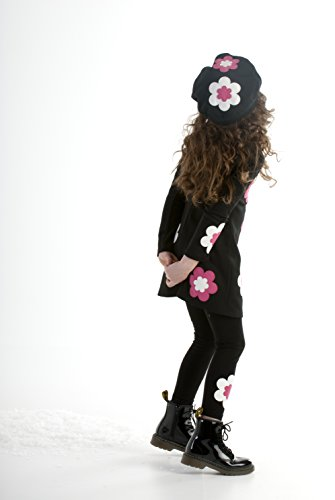 Biscotti Big Girls Bright Accent Long Sleeve Dress With Flowers, Black/Ivory, (Bright Flowers Dress)