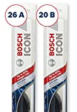 Bosch ICON Wiper Blades (Set of 2) Fits 2018-08 Toyota Highlander; 2013-07 Ford Edge; 2015-07 Lincoln MKX & More, Up to 40% Longer Life
